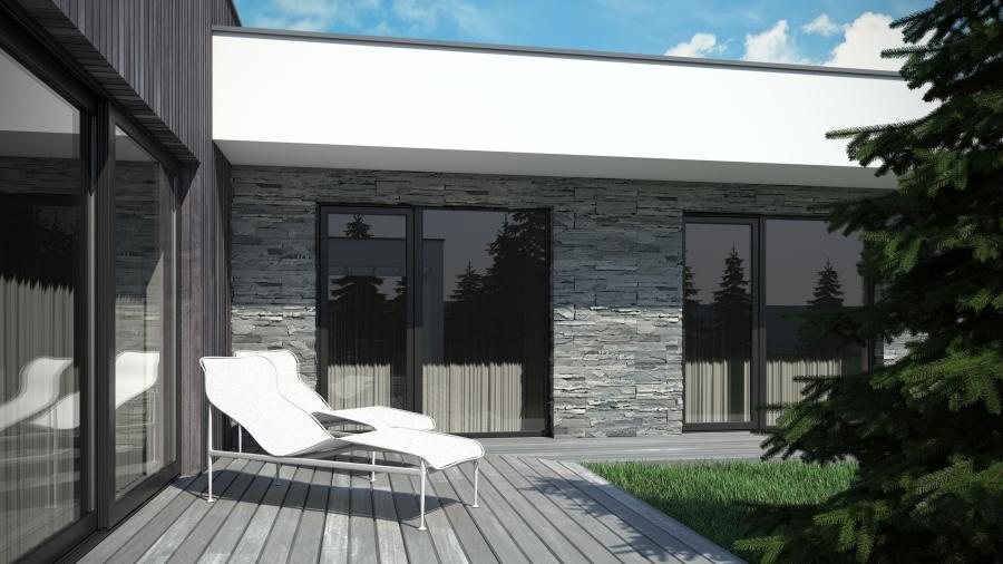 Dom parterowy - nowoczesny projekt. Płaski dach.
