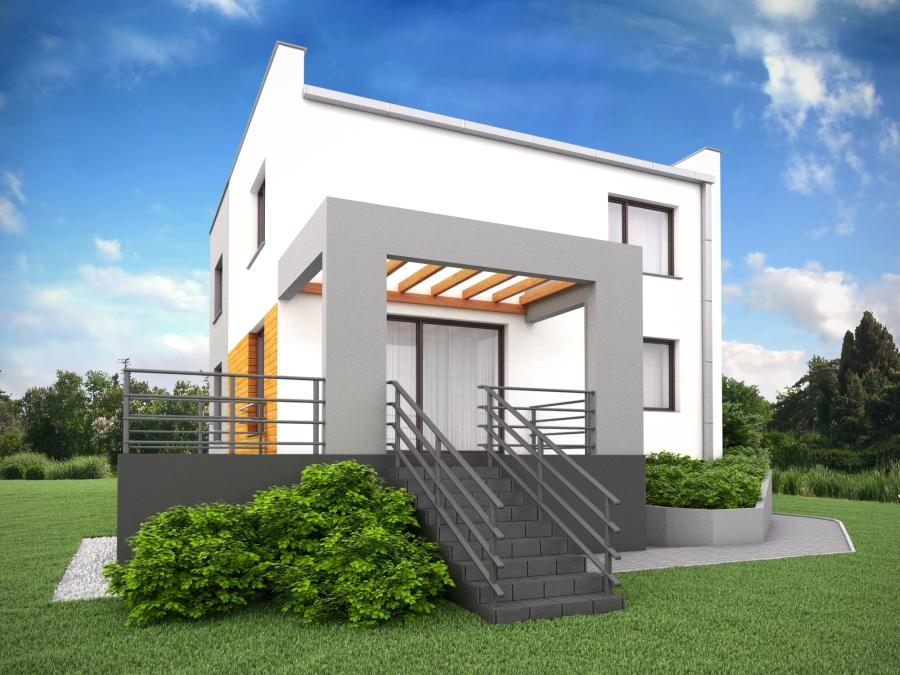 Projekt elewacji. Przebudowa domu typu kostka Racibórz
