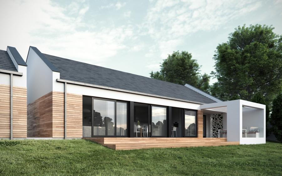 Nowoczesny dom. Projekt Mysłowice. Dach dwuspadowy, duże okna HS, zadaszony taras.
