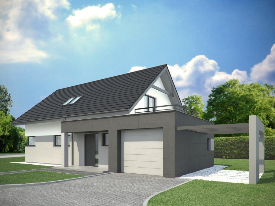 4 domy na sprzedaż w Nędzy. Projekt tradycyjnych domów z poddaszem.