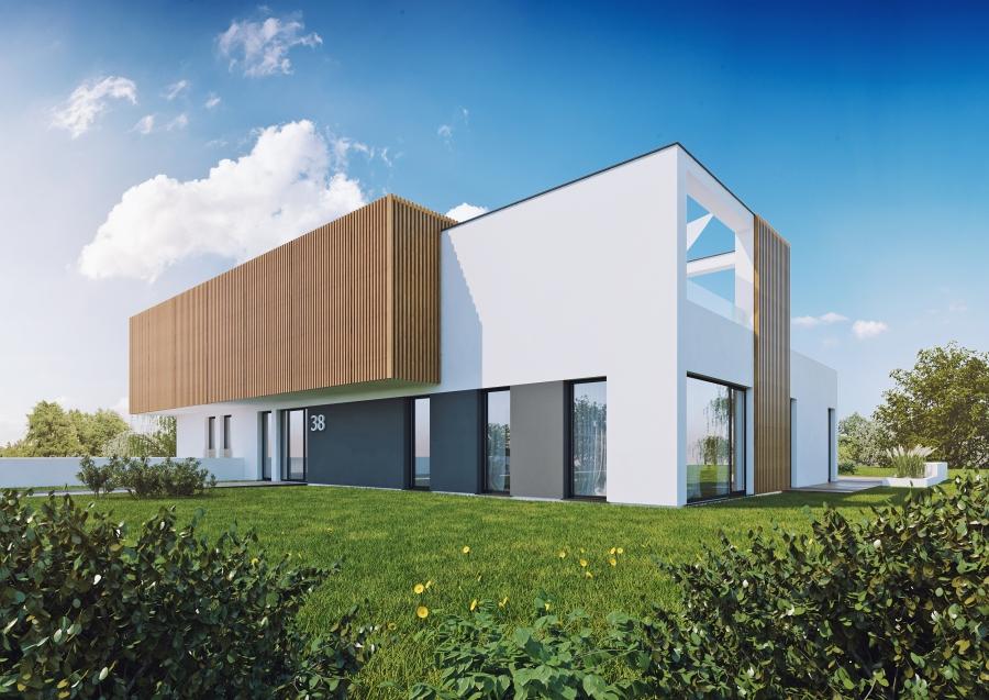 luksusowy nowoczesny dom, projekt, racibórz, projektowanie, płaski dach, nowoczesna elewacja, willa, dom premium